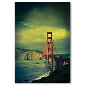Αφίσα (γέφυρα, φώτα, θάλασσα, βουνό)